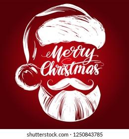 Santa Claus, Christmas symbol hand drawn vector illustration sketch, calligraphic text