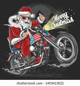 SANTA CLAUS CHRISTMAS USA AMERICA TOUR BIKER MOTORCYCLE, MOTORBIKE, COOPER ARTWORK VECTOR