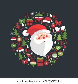 Santa Claus in a circle