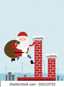 Santa Claus climbing on the chimney and holding big sack on his back. Big copy space on the top of the image. Snow falling in the background.