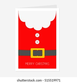 Santa Claus Coat with beard, fur, button and yellow belt. Big Merry Christmas greeting card. Red background. Flat design. Vector illustration