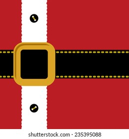 Santa Claus Coat belt and buttons. Merry Christmas background card Flat design Vector illustration