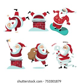 Santa Claus collection. delivering gifts. Christmas illustration of group of Santa Claus in winter climate. EPS 10 vector.