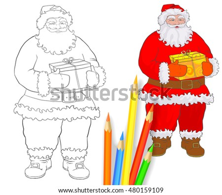 santa claus coloring and colored pencils grandfather with gift box in hands on a christmas