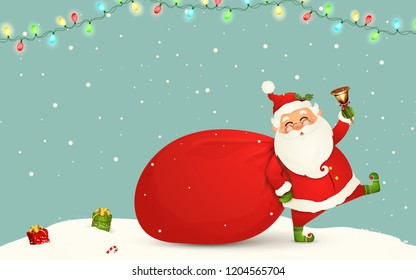 Santa Claus is coming. Funny Santa Claus with huge, red, heavy bag with presents, gift boxes, jingle bell isolated. Happy Santa Claus cartoon character in Christmas snow scene. Winter landscape.