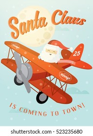 santa claus is coming to town/ santa flying on plane greeting card template vector/illustration