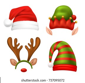 Santa Claus concept icons set with Christmas symbols realistic isolated vector illustration