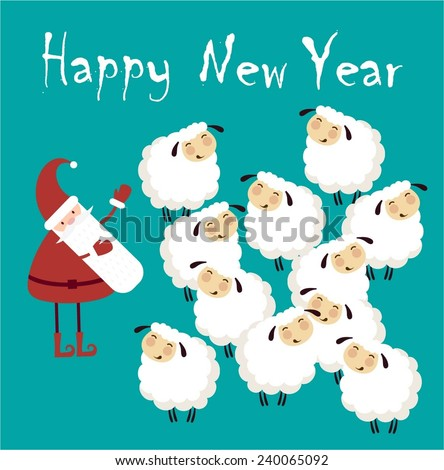 santa claus congratulates flock of sheep happy new year illustration