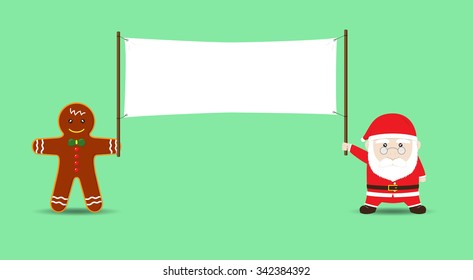 Santa Claus and Cookie Man holding Blank Banner. Vector Cartoon for Christmas and New Year Advertising