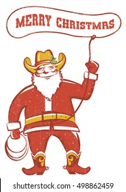 Santa Claus in cowboy boots  twirling a lasso.Vector illustration isolated on white