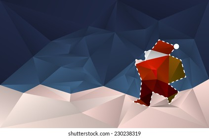 Santa Claus Cut Out Card. Abstract christmas background with santa claus walking in the snow.