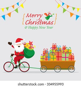 Santa Claus Cycling Bicycles with Gift Boxes in Cart, Characters, Merry Christmas and Happy New year
