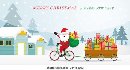 Santa Claus Cycling Bicycles with Gift Boxes in Cart, Houses and Snowfall Background, Merry Christmas and Happy New year