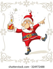 Santa Claus Dancing and Drinking Vector Cartoon - Drunk Claus holding a champagne bottle. File type: vector EPS AI8 compatible. No transparencies, only compatible gradients.