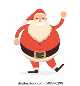 Santa Claus dancing and waving his hand in greeting pose. Cute cartoon cheerful and smiling Father Frost character. Flat style vector illustration