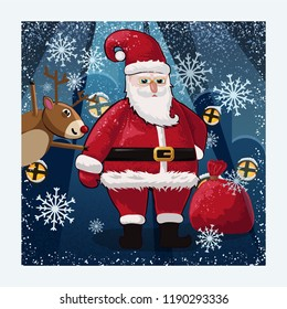 Santa Claus, dear and bag of toys colorful vector illustration for Christmas card template