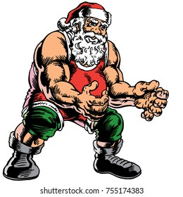 Santa Claus decked out in full wrestling gear! Great for wrestling tournaments for your local school. Isolated to work great as art or background for ads, posters, shirts or what ever you need it for.