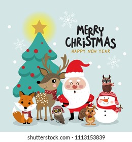 Santa Claus, deer, bear, fox, squirrel and owl in Christmas greeting card. Holidays cartoon character. Wildlife animal in winter costume.