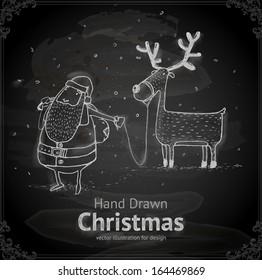 Santa Claus with Deer. Chalkboard texture. Chalk Design.