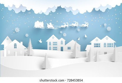 santa claus with deer flying over a small town on a snowy hill. winter design of paper and craft art
