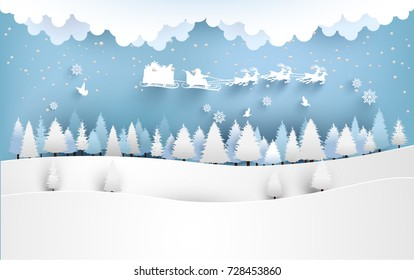 santa claus with a deer flying over a pine tree on a snowy hill. winter design of paper and craft art