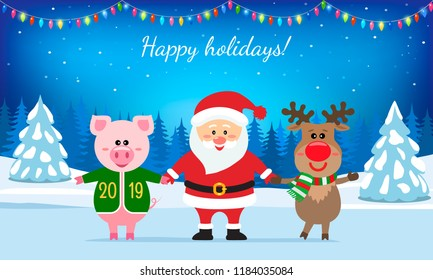 Santa Claus, a deer and a pink pig against the background of a rustic festive landscape. Christmas card in 2019 in retro style.
