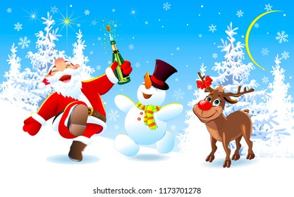 Santa Claus, deer Rudolph and snowman in the winter forest. Merry Santa Claus, deer and snowman are happy on Christmas night. The Joy of Christmas.