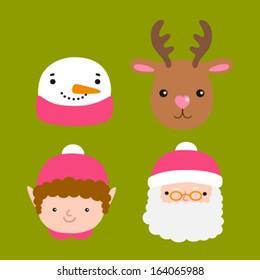 Santa Claus, deer, snowman, elf - Christmas illustration