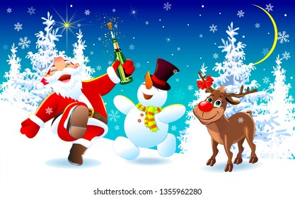 Santa Claus, deer and snowman in the winter forest. Merry Santa Claus, deer and snowman are happy on Christmas night. The Joy of Christmas.