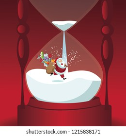 Santa Claus delivering Christmas gifts inside an hourglass. Time's up and Christmas is here. EPS10 vector illustration.