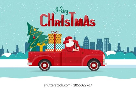 Santa Claus delivering gifts on red truck. Merry Christmas and Happy New Year holidays celebration concept, winter cityscape background. Vector illustration