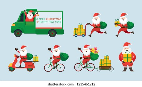 Santa Claus, Delivery Service Concept, Ride and Drive, Scooter, Bicycle, Truck, Send Gifts