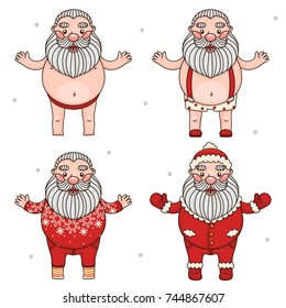 Santa Claus and different clothes, set, cartoon characters, vector.