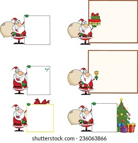 Santa Claus With Different Sign. Vector Collection Set
