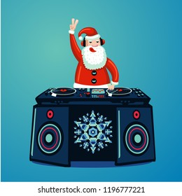 Santa Claus dj with vinyl turntable. Christmas music party poster. New Year nightclub music show