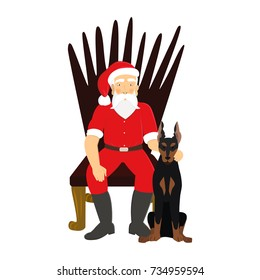 Santa Claus with doberman dog on white background. Stylish Santa with earring sitting on chair. Doberman dog as a symbol of 2018.