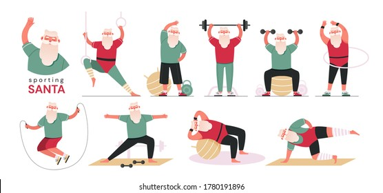 Santa Claus doing aerobic and fitness exercises in the gym, wearing red sport uniform, set of flat vector illustrations