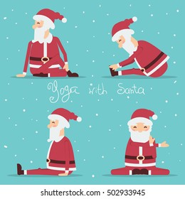Santa Claus doing yoga. Vector holiday set of illustration isolated for design