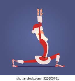 Santa Claus Doing Yoga. Vector Xmas Illustration. Healthy lifestyle in New Year. Sports in Christmas. Just do it! Stretching exercise.
