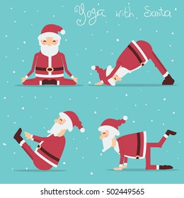 Santa Claus doing yoga.Vector holiday illustration isolated