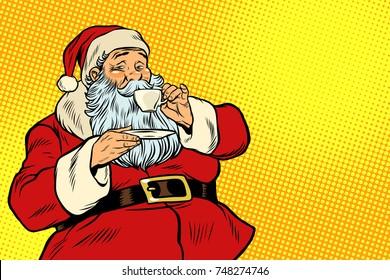 Santa Claus drinking tea or coffee. Pop art retro vector illustration