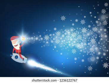 Santa claus drive rocket launch and smoke through cloud into space. Startup - flat design. Vector illustration.