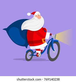Santa Claus driving a bicycle. Vector image drawn in flat style