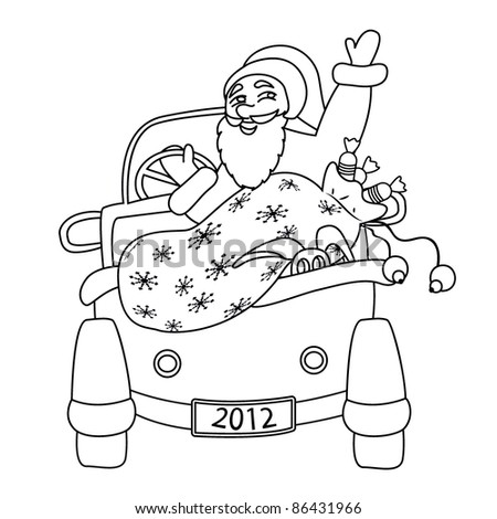 santa claus driving car coloring page