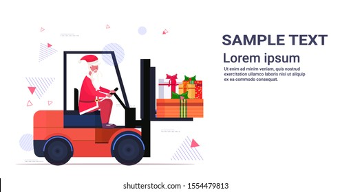 santa claus driving forklift truck loading colorful gift present boxes merry christmas happy new year holiday celebration concept horizontal copy space vector illustration