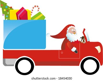 Santa Claus driving gift truck