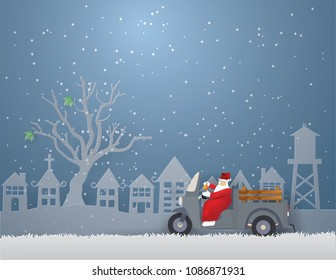 Santa Claus driving mini truck with three wheels coming to Urban countryside city in winter season.Vector and illustration.