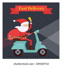Santa Claus Driving Scooter. Vector Illustration