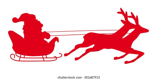 Santa Claus driving in a sledge with stars