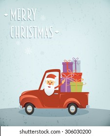 Santa Claus driving a truck with many presents